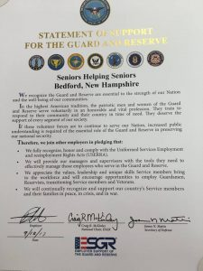 SHS NH Received Statement of Support for the Guard and Reserve